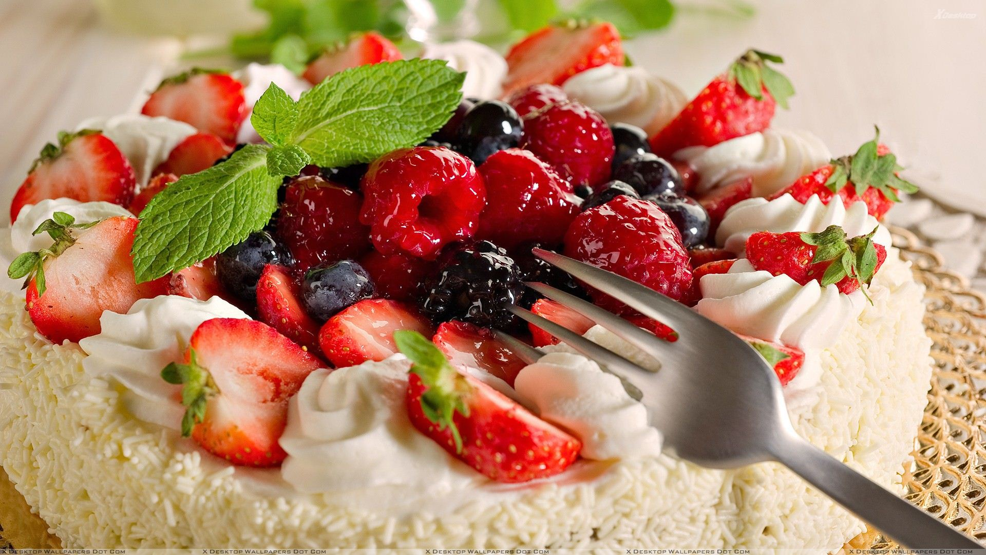 Strawberry And Blueberry Cake Closeup
